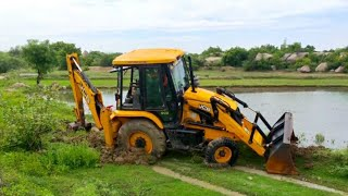 JCB Backhoe Going to Cleaning the Drain in another Village JCB 3DX machine power plus