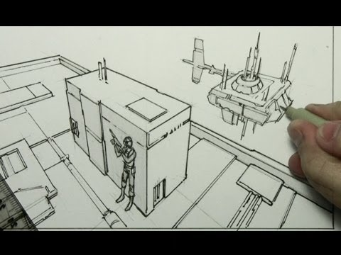 How To Draw Backgrounds 3 Point Perspective Youtube