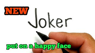 VERY EASY ! How to turn words JOKER into cartoon for kids / How to draw joker