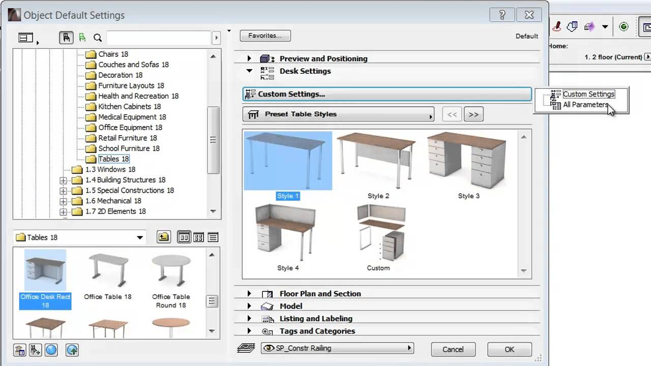 Simplified Library Object Settings in ARCHICAD 18