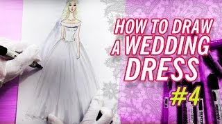 HOW TO DRAW A WEDDING DRESS #4 | Fashion Drawing