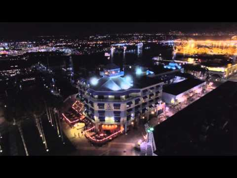 Aerial footage of Jack London Square Oakland Ca,