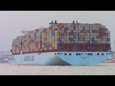 Triple E Container Ship MADISON MAERSK Fully Loaded inbound into Felixstowe, UK (June 26, 2015)