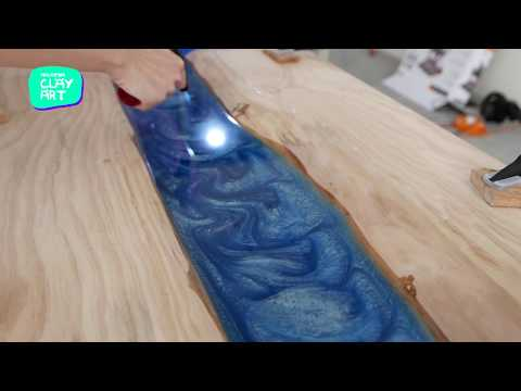 Epoxy resin river table pine coffee table - Malaysia Clay Art