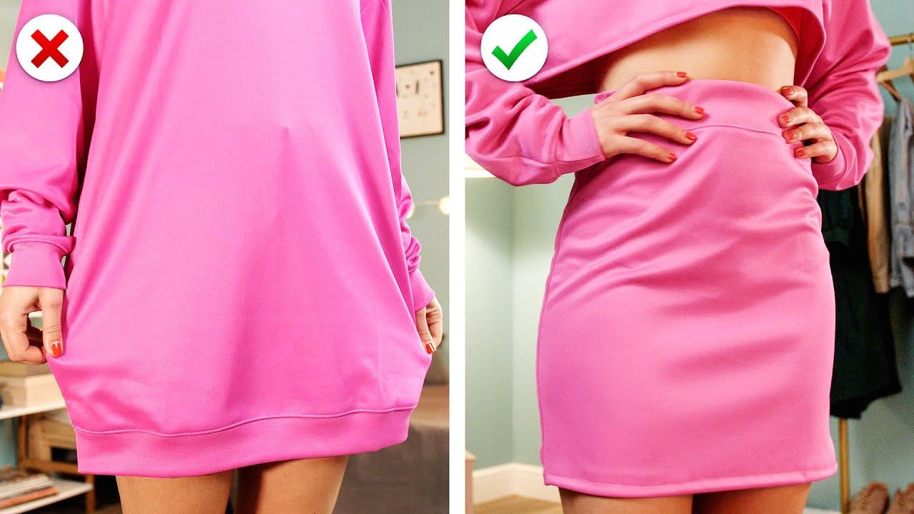 CLOTHING HACKS!!! 🎀 10 Astuces de vêtements & Idées de Mode DIY pour réparer tes vieux vêtements