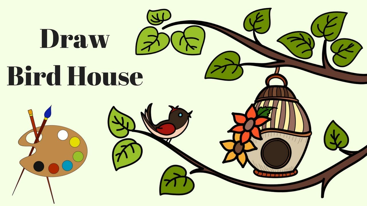 Draw Bird House | Coloring Pages | Drawing for kids | How to draw ...