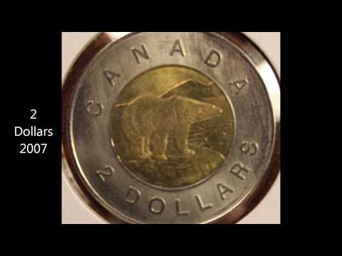 2 Dollars coins of Canada 1996, 2007 and 2012