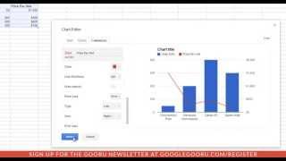 كيفية إضافة ثانية YAxis إلى الرسم البياني في جوجل جداول البيانات