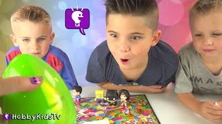 SUPER Hero CANDY Land Game! REAL Candy + Winner gets a Surprise HobbyKidsTV