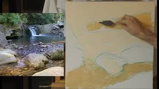 Горный Пейзаж Маслом - Как Нарисовать Горный Ручей - Урок 1 - Юрий Клапоух (2019)