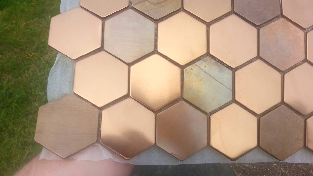 Copper And Stainless Steel Hexagon Mosaic Tiles