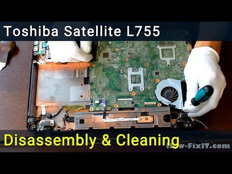 Toshiba Satellite L750, L750D, L755, L755D Disassembly And Fan Cleaning, разобрать почистить ноутбук