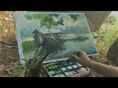 Outdoor watercolor painting | Plein Air tips for watercolor artist.