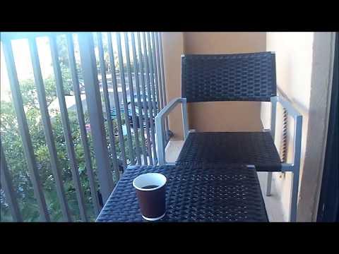 Morning breakfast in room at Marriott Courtyard, Tampa Fairgrounds, FL