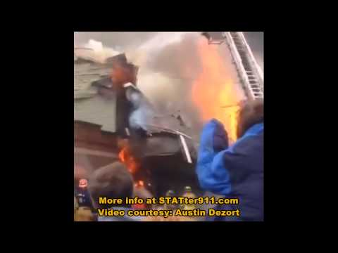 STATter911: Caught on video - collapse at major fire in Garrettsville, OH