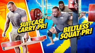 BELTLESS SQUAT PR + SUITCASE CARRY PR!