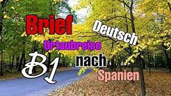 Brief (Urlaubsreise nach Spanien) Deutsch Niveau B1 👌👍