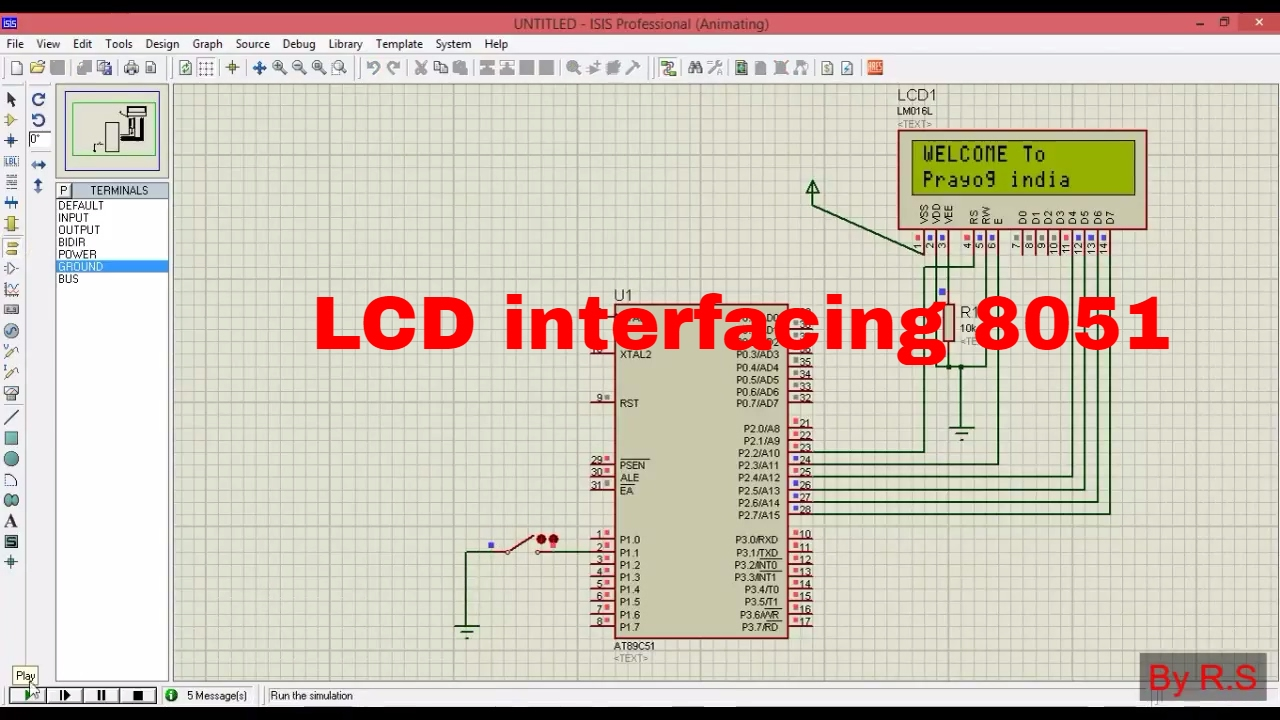 LCD interfacing with 8051 in proteus