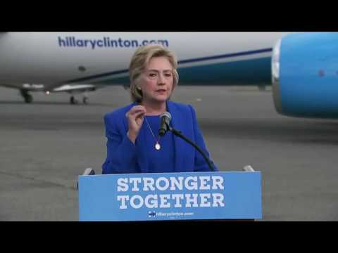 Hillary Clinton takes questions and addresses crowd at Westchester County Airport
