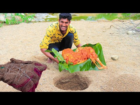 Rare north Indian Desert Food !!! Cooking Underground mutton leg piece bbq style  nature food stop