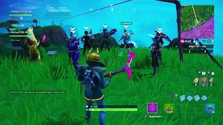 Make a bottle flip challenge in front of 10 players on fortnite