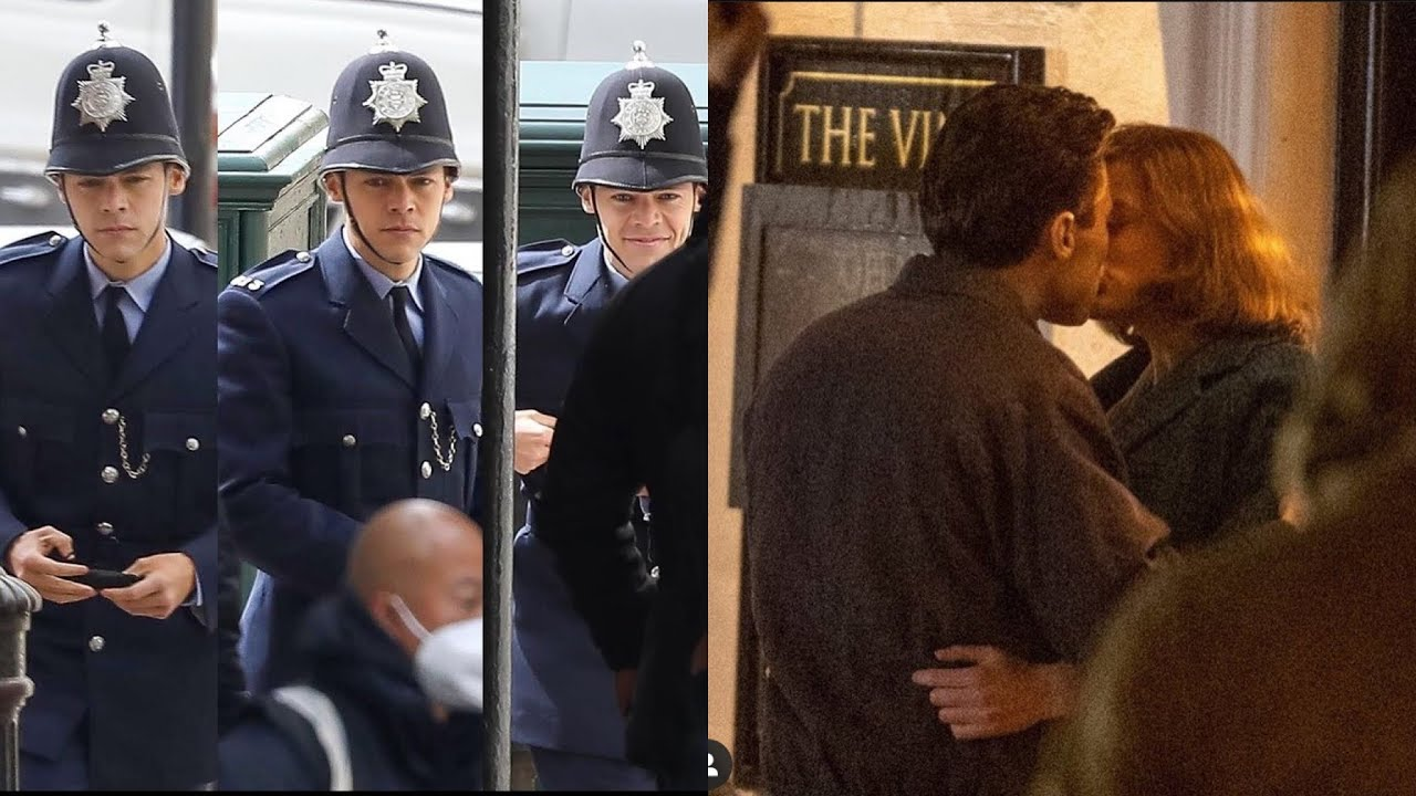 Harry Styles kissing and acting on the set of My Policeman - Behind the scene videos BTS