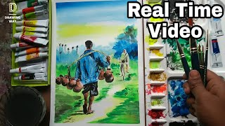 Watercolour Village Scenery Tutorial - Real Time Video