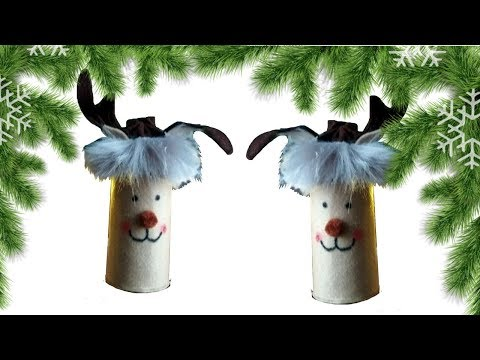 Toilet paper roll craft for Christmas.Reindeer candy holder / tree decoration idea.