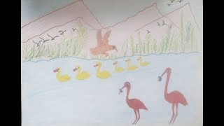 Natural Scenery for Kids A Beautiful Mountain scenery Drawing for chilldern