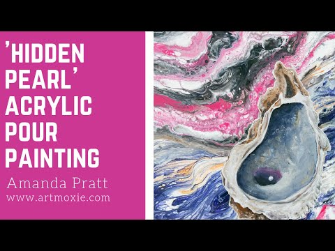 "Acrylic Oyster Painting on Abstract Acrylic Pour | ""Hidden Pearl"""