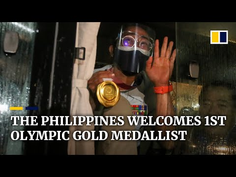 The Philippines welcomes home nation's first Olympic gold medallist, Hidilyn Diaz