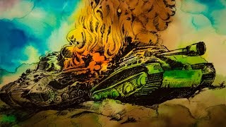 War tank drawings and painting with watercolor and gel pen.