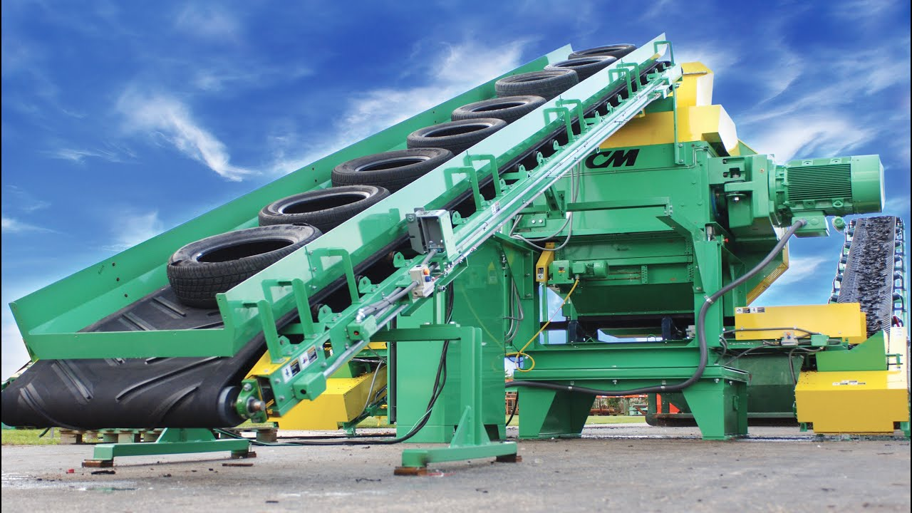 """CM Dual Speed Chipping Shredder - Whole Tires to 1"""" Chips for Fuel In one Step."""