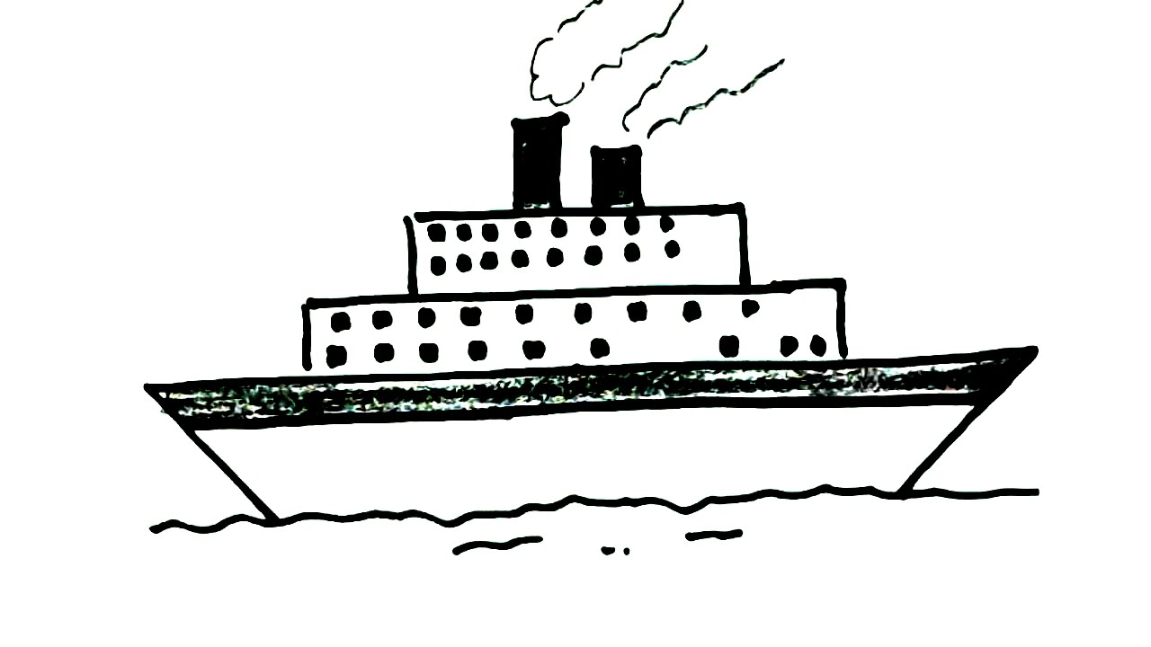 How To Draw A Ship In Easy Steps For Children Kids