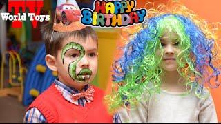 Арина пошла на день рождения к другу Виктору || Детские аттракционы,  батуты,  много шаров , торт(, 2016-02-21T21:57:49.000Z)