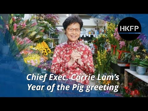 Chief Exec. Carrie Lam wishes Hongkongers luck, health and happiness for the Year of the Pig