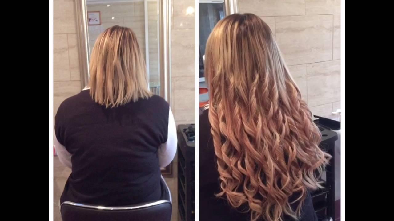 Como poner extensiones largas en cabello corto
