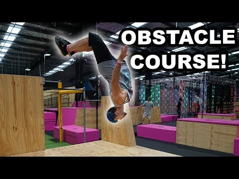 Ninja Warrior Obstacle Course At Trampoline Park (Sis VS Bro)
