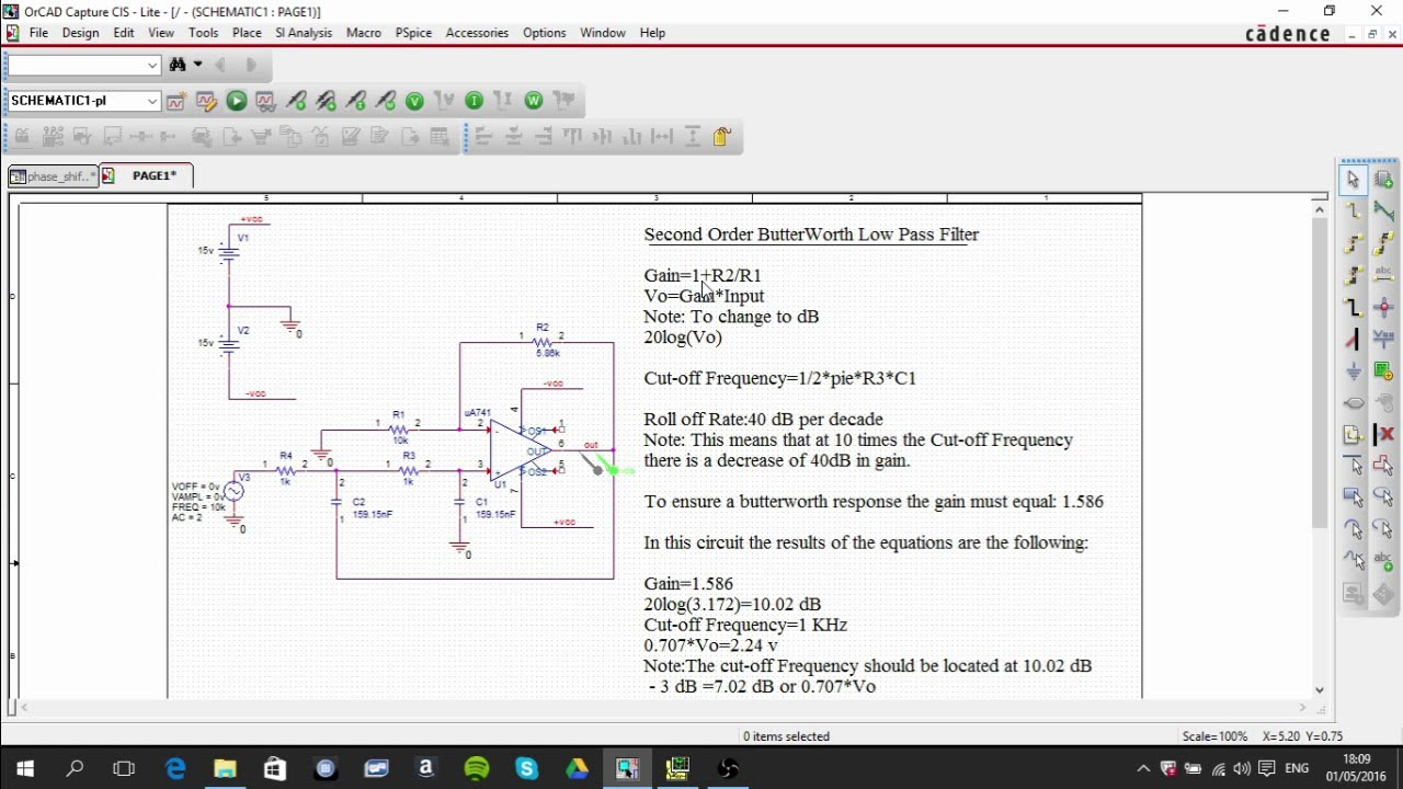 Second order butterworth low pass filter pspice circuit