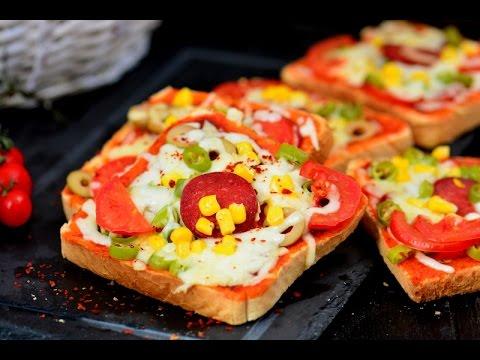 En Kolay Pizza Tarifi 2 Ekmek Pizza 5 Dakikada Hazırlanır Youtube
