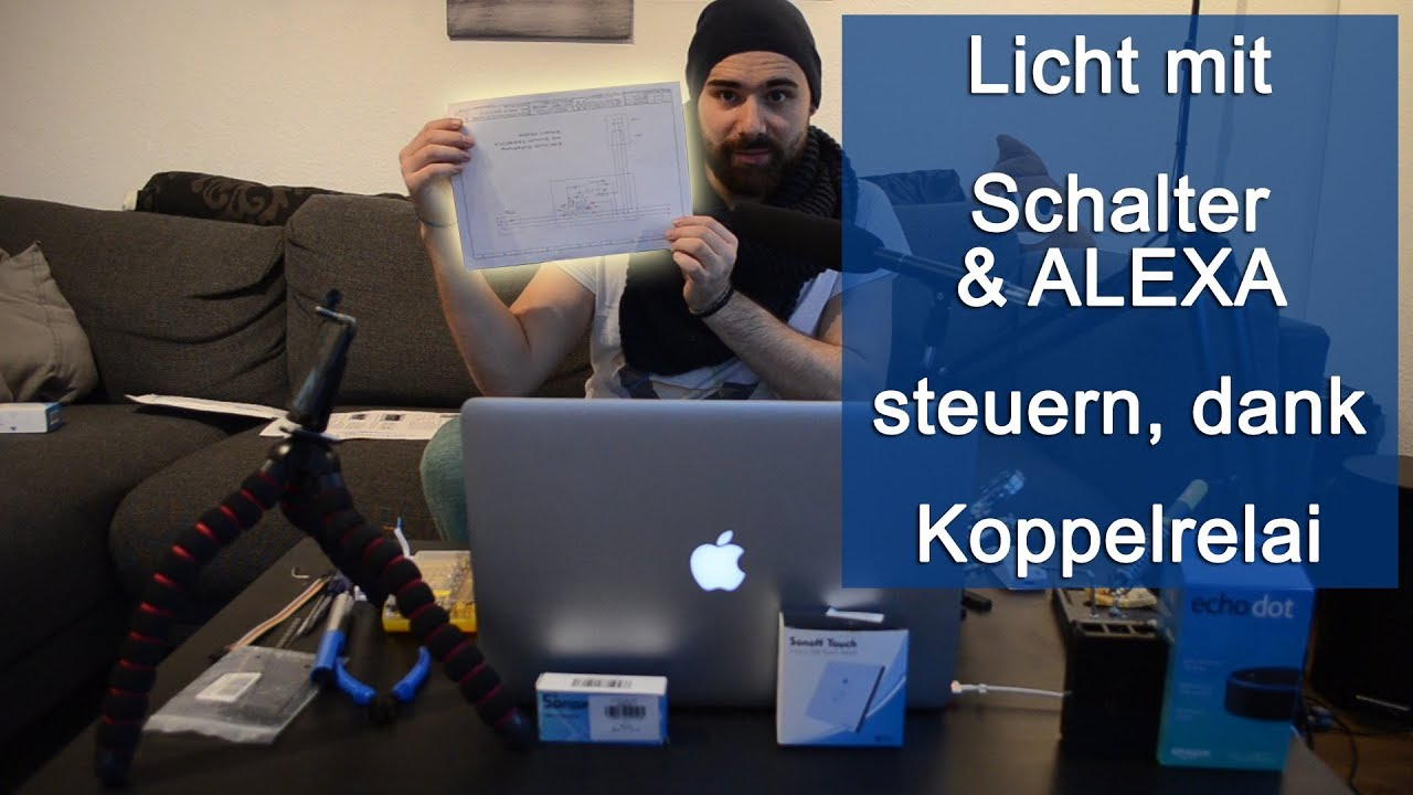 licht mit schalter alexa steuern dank koppelrelais tutorial hd youtube. Black Bedroom Furniture Sets. Home Design Ideas