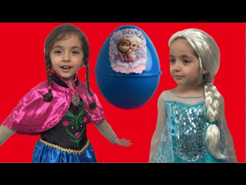 Frozen Giant Surprise Egg Candy Haul Toys ft. Elsa and Anna And Olaf + Kinder Egg + Frozen Eggs