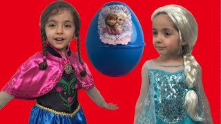 Frozen Giant Surprise Egg Candy Haul Toys ft. Elsa and Anna And Olaf + Kinder Egg + Frozen Eggs thumbnail
