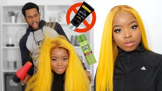 BOYFRIEND LAYS MY WIG || HOW TO: PERFECT YELLOW WIG ft. AliPearl