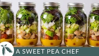 Make-Ahead Mason Jar Salads For The Week + A Killer Clean Honey Mustard Dressing! | A Sweet Pea Chef