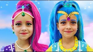 Sofia plays with Shimmer and Shine Dolls and dresses up as a Princess for the Holiday