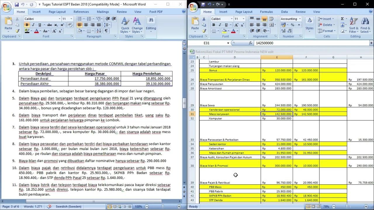 Rekonsiliasi Fiskal dan Tutorial Lampiran 1 e-SPT PPh ...