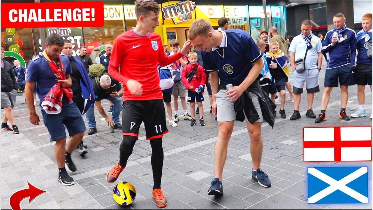 1 ENGLAND FAN vs 100 SCOTLAND FANS! (Crazy Euros Football Challenge)