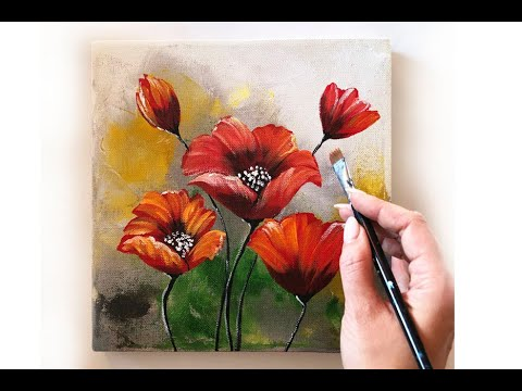 How To Paint A Flowers On Canvas/ Demo /Acrylic Technique On Canvas By Julia Kotenko