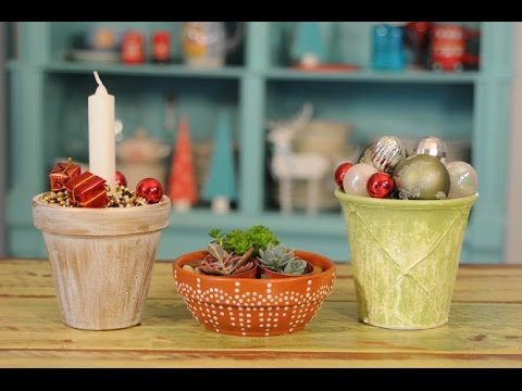Ideas para decorar en navidad pintar macetas youtube for Adornos para macetas